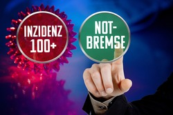 Buttons with the German words Inzidenz 100+ (incidence 100+) and Notbremse (emergency brake)
