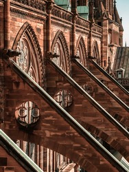 Buttresses and other Gothic elements of the tallest cathedral, Strasbourg. France.