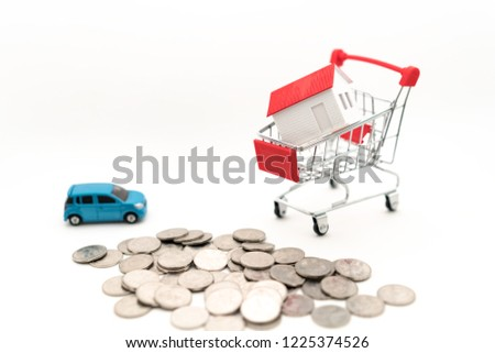 Buy a house to buy a car concept picture