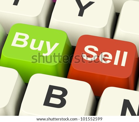 Buy And Sell Keys Represents Business Trade Or Stocks Online