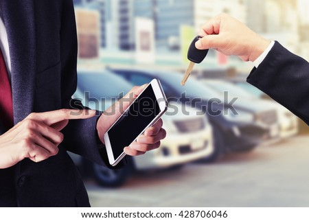 buy car on smart phone concept background