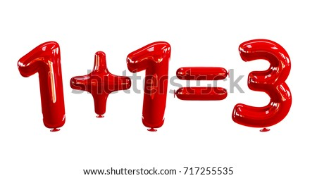 Buy 2, Get 1 Free - Sale Concept Made of Red Helium Balloons. 3d rendering isolated on White Background