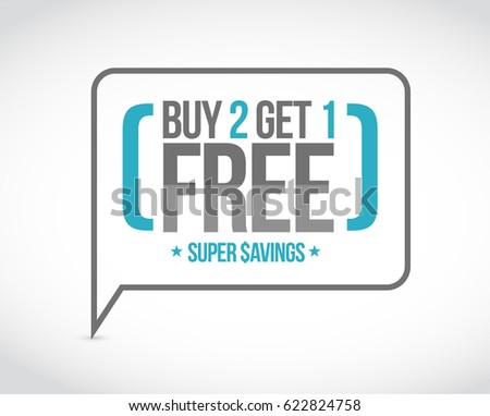 buy 2 get 1 free sale message concept illustration design graphic