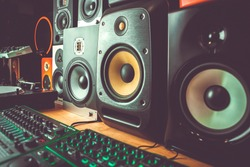 Buy new sound monitors in music store.Professional dj shop with high quality sound monitor speakers.Hi-fi speaker box for sound recording studio