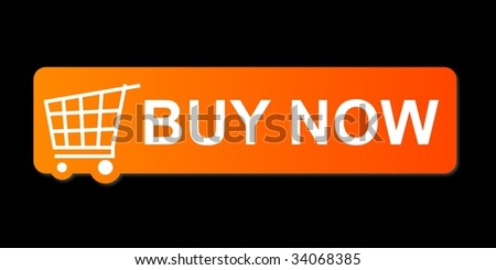 Buy now button with a shopping cart on black background.
