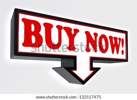 buy now red and black arrow sign on white background. clipping path included