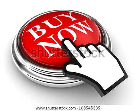 buy now red button and cursor hand on white background. clipping paths included