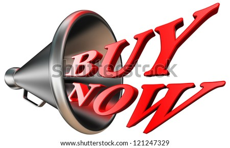 buy now red word in megaphone isolated on white background. clipping path included