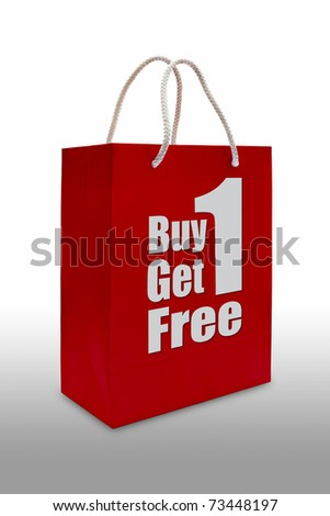 buy one get one free sale label on red shopping  paper bag