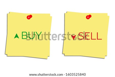 Buy Sell . Buy Sell with upward and downward arrows. Buy or Sell icons used in stock market or financial market.