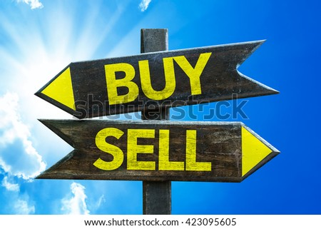 Buy - Sell crossroad with sky background