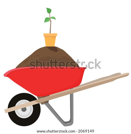 Buy the wheelbarrow and get the dirt, pot, and sapling FREE. While supplies last. Clean vector render. - stock photo