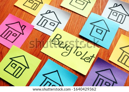Buy To Let Mortgage sign and drawn homes. Stock fotó ©