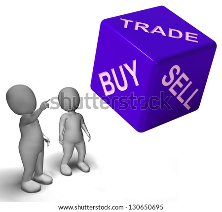 Buy Trade And Sell Dice Representing Business And Commerce