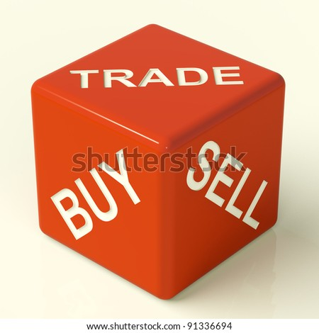 Buy Trade And Sell Red Dice Representing Business And Organization