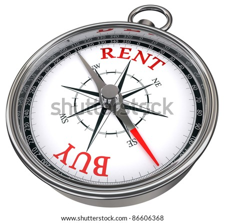 buy versus rent concept compass isolated on white background - stock photo