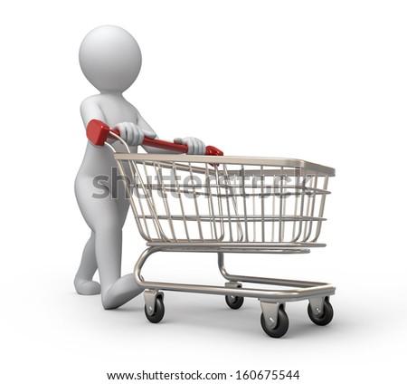 Shutterstock buyer, 3d human and shopping cart
