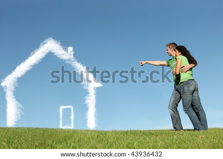 buying first home,dream house - stock photo