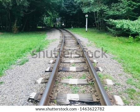 Buying iron rail railroad track thin long old nostalgia wonderful different angles perspectives background image of railroad crossing between green trees. #1463622782