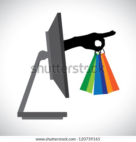 Buying/shopping online using a technology(PC). The graphic contains a PC and shopping bag symbol held by a silhouette hand representing the concept of e-commerce/online shopping/e-business, etc.