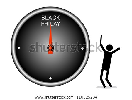 Buying Time : A Deadline Clock for Start Black Friday Shopping Season, Isolated on White Background