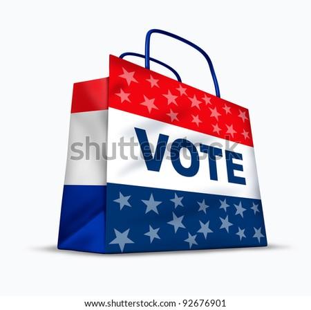 Buying votes and political corruption as electoral fraud by paying to buy voters in an honest democratic election for a candidate for president or government officials in a shopping bag.
