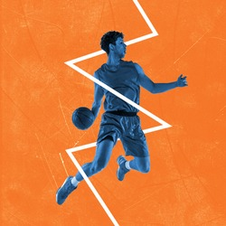 BW image of young man, professional basketball player in action, motion over orange background crossed by white zigzag. Inspiration, creativity and sports concept