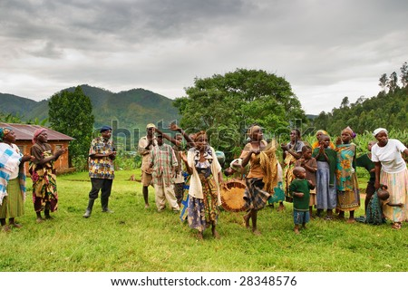 BWINDI NATIONAL PARK, UGANDA- MARCH 25: Batwa pigmy dancers dance the ethnic dances March 25, 2009 in Bwindi National Park, Uganda. Pigmy people are ancient dwellers in the forests.