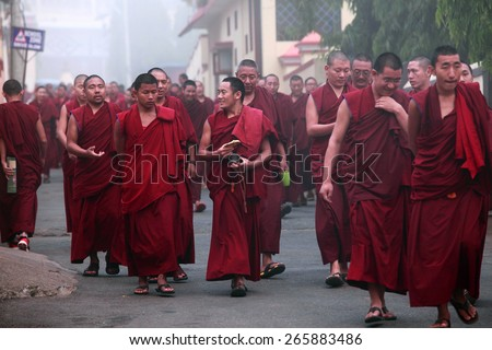 BYLAKUPPE, INDIA - MAR 29, 2015 : Unidentified Buddhist monks walk in group for morning prayer on March 29, 2015 in Bylakuppe, India. Bylakuppe is second largest Tibetan refugee settlements in India.