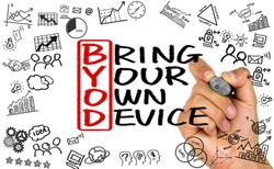 BYOD concept:bring your own device handwritten on whiteboard