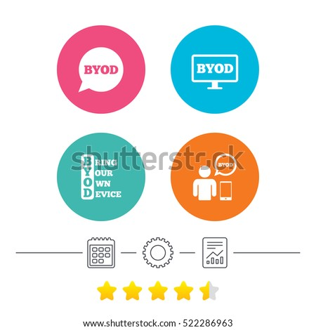 BYOD icons. Human with notebook and smartphone signs. Speech bubble symbol. Calendar, cogwheel and report linear icons. Star vote ranking.