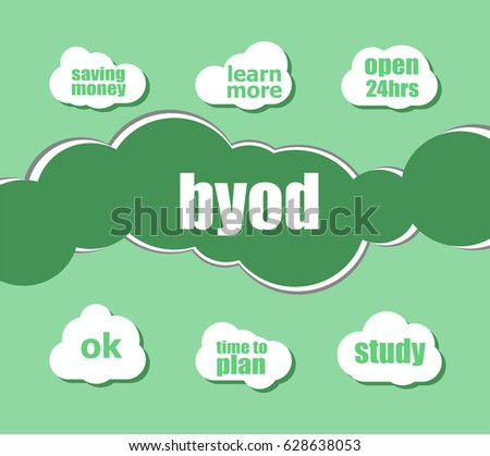 byod word. Management concept . word lettering typography with line icons and tag cloud on green background. Creative idea concept