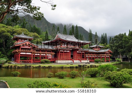 Byodo-In Buddhist Japanese Temple in the Valley of the Temples, Oahu, Hawaii--replica of the famous temple by the same name in Kyoto, Japan.