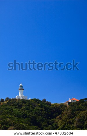 Byron Bay Lighthouse and Guard Station On Top of Hill in New South Wales