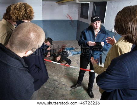 Bystanders looking at a crime scene with a murdered woman, whilst a