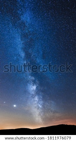 Bystrzyca Klodzka, view of the Milky Way over the hills. Astronomical phenomenon, conjunction of Jupiter and Saturn visible in the night sky. Photo stock ©