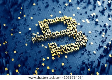 Byte Coin Symbol. 3D Illustration of Gold Byte Coin Logo on the Blue Digital Background With Scatter of Digits.