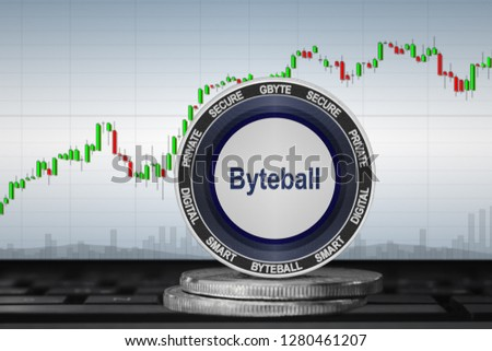Byteball Bytes (GBYTE); cryptocurrency coins - Byteball Bytes on the background of the chart. 3d illustration