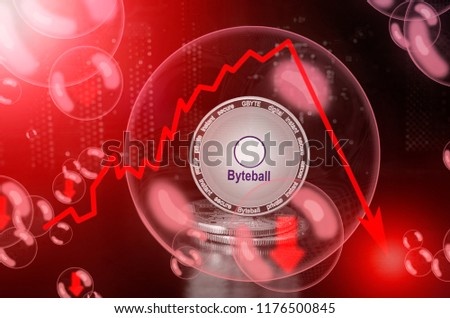 Byteball Bytes (GBYTE) in a soap bubble. Risks and dangers of investing to byteball bytes. Collapse of the exchange rate. Unstable concept