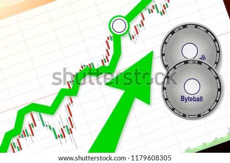 Byteball Bytes (GBYTE) index rating go up on exchange market; cryptocurrency chart on tablet pc (smartphone) with arrow pointing up and coins Byteball Bytes. Place for text (prices); top view