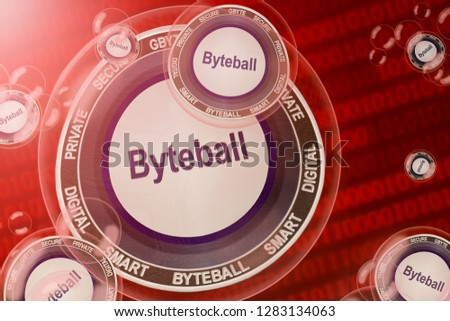 Byteball crash; Byteball Bytes (GBYTE) coins in a bubbles on the binary code background. Close-up. 3d illustration