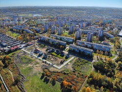 Bytom city aerial view. Upper Silesia region in Poland. Szombierki district, Bytom.