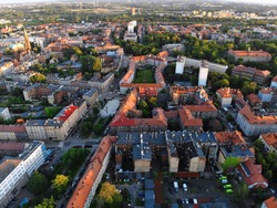 Bytom city sunset light aerial view. Upper Silesia region in Poland.