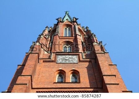 Bytom, Silesia region in Poland. Old beautiful architecture - Holy Trinity church, Neo-Gothic style.