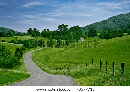 Byway:  A less-traveled road winds through the foothills of the Blue Ridge Mountains in western Virginia.