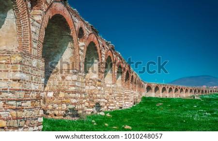 Byzantine aqueduct near Skopje Zdjęcia stock ©