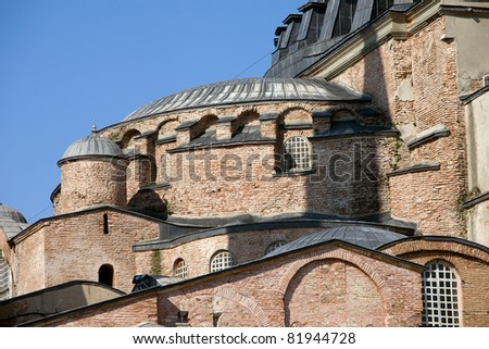Byzantine architectural details of the Hagia Sophia ( The Church of the Holy Wisdom or Ayasofya in Turkish ), a famous historic landmark in Istanbul, Turkey