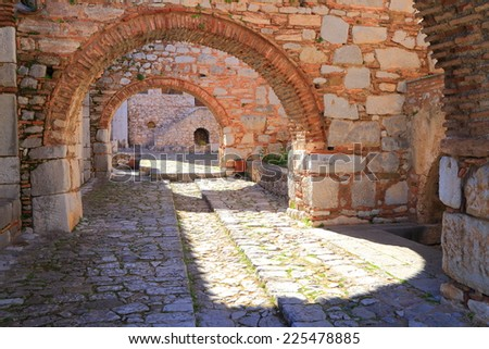 Byzantine architecture with curved stone arches of the Osiou Louka monastery, Greece
