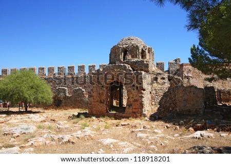 Byzantine church ruin in the Alanya fortress, Turkey - stock photo