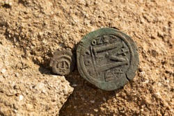 Byzantine copper coins from the reign of Emperor Justinian 1. Excavations of the winery in the ancient fortress of the 5th century in the town of Byala. Follis.